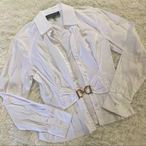 Jones New York Button Down Blouse With Clasp Belt